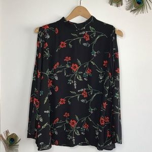 Black Blouse with red flowers Large cold shoulder